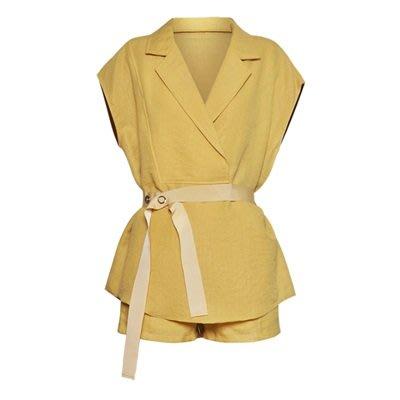短袖套裝 純棉褲裝(兩件套)-優雅端莊西裝領蝙蝠袖繫帶女上裝2色73ta49[獨家進口][米蘭精品]