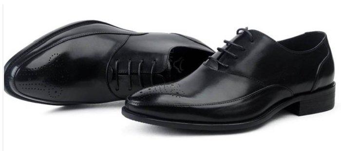新品男士商務正裝皮鞋英倫系帶尖頭皮鞋真皮婚宴皮鞋雕花透氣