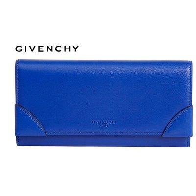 GIVENCHY紀梵希►( 藍色) 真皮兩摺長夾 皮夾 100%全新正品 特價!
