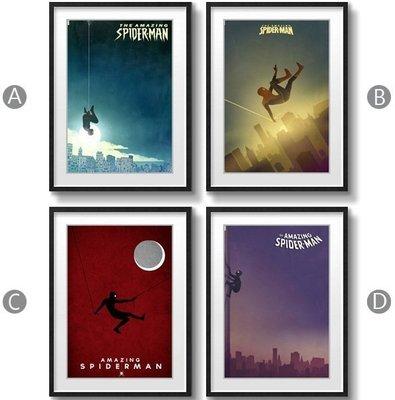 ABOUT。R SPIDERMAN驚奇蜘蛛人漫畫風格創意版畫掛畫海報個性複古裝飾畫有框畫復仇者聯盟3掛畫(4款可選)