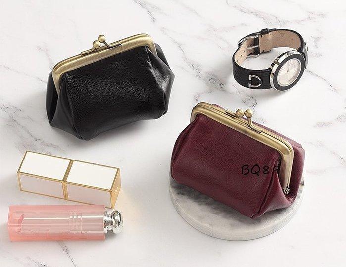 BQ89黑色真皮復古零錢包 小包 隨身包$590