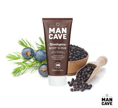 GOODFORIT / 英國廠牌Man Cave Blackspice Body Scrub黑炭身體磨砂膏/200ml