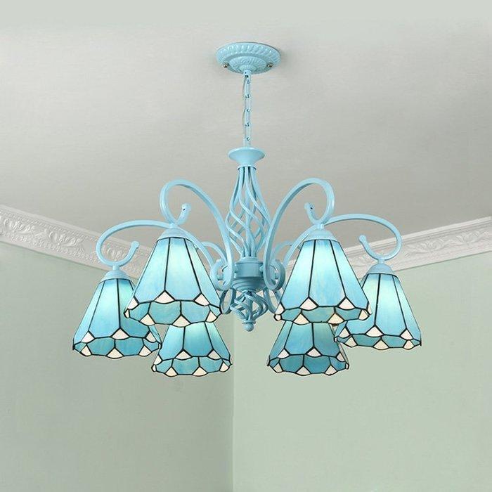 蒂凡尼吊燈地中海田園風格藍色簡約溫馨客廳臥室書房餐廳兒童房燈【6-704源家精品】