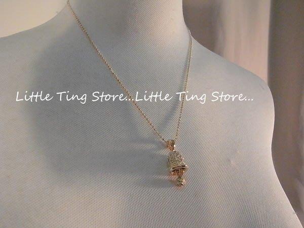 Little Ting Store:優雅仕女項鏈 不響的鈴鐺綴飾鑲鑽鎖骨鍊項鍊金色底水晶鑽 短項鍊頸鍊