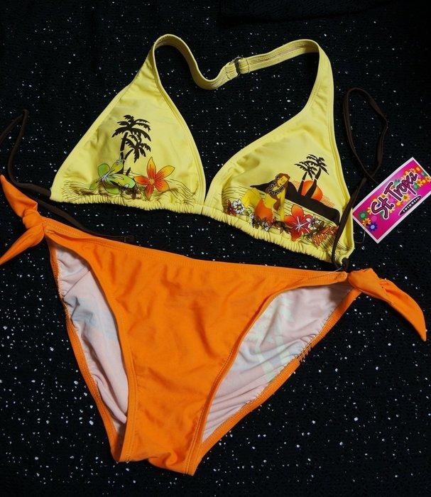 Kini精選-外銷歐美M-XL尺寸泳裝-活力亮黄橘/藍褲萊卡比基尼一套[綁帶上衣/三角褲]-特價150元