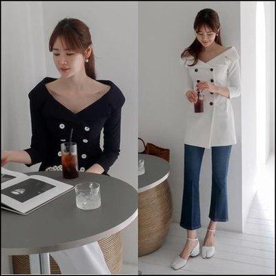 韓國進口It Me【kr5566】露肩兩穿夾克連身裙。