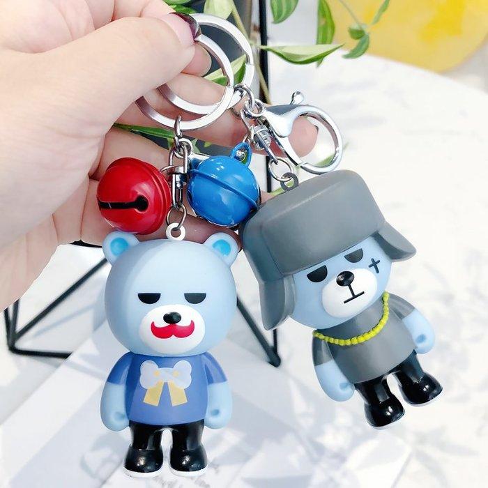 創意韓國可愛爆炸熊GD公仔鈴鐺鑰匙扣包包鑰匙鏈top小熊周邊掛件卡通鑰匙圈掛飾百搭掛件飾品包包掛飾手機掛飾禮品