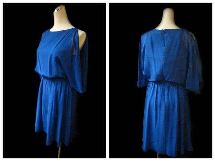 *Beauty*alice +olivia寶藍色露肩雪紡洋裝 WE14