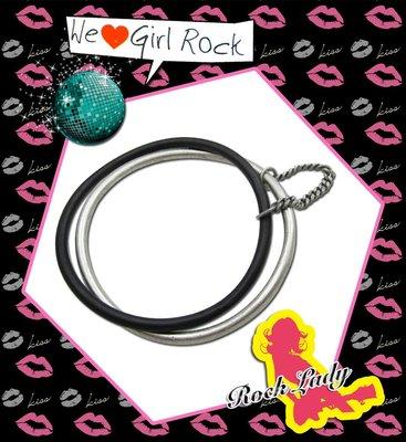 ☆Rock Lady☆時髦女孩憧憬單品♥魅力UP!UP!♥黑銀混搭雙環式設計簡約好搭手環