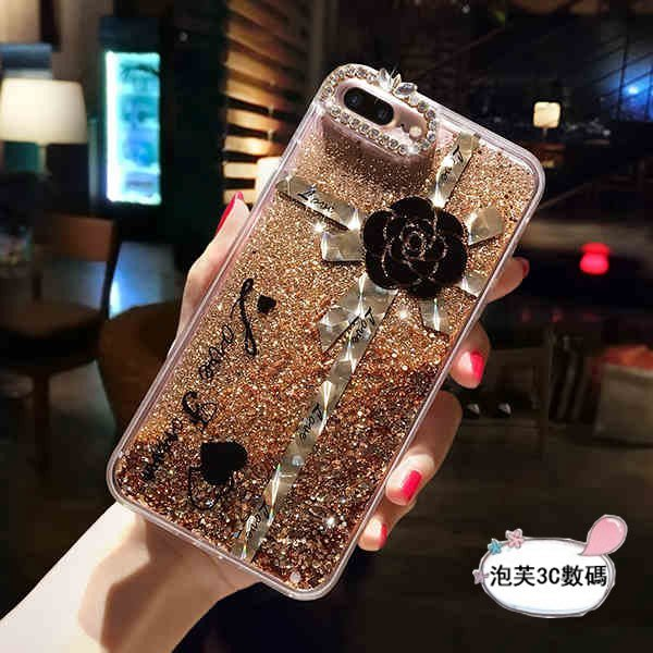 《泡芙》 iPhone x 8 7 6s Plus 奢華水鑽 閃粉流沙 山茶花 流動液體 鏡頭保護 防摔抗震 保護套