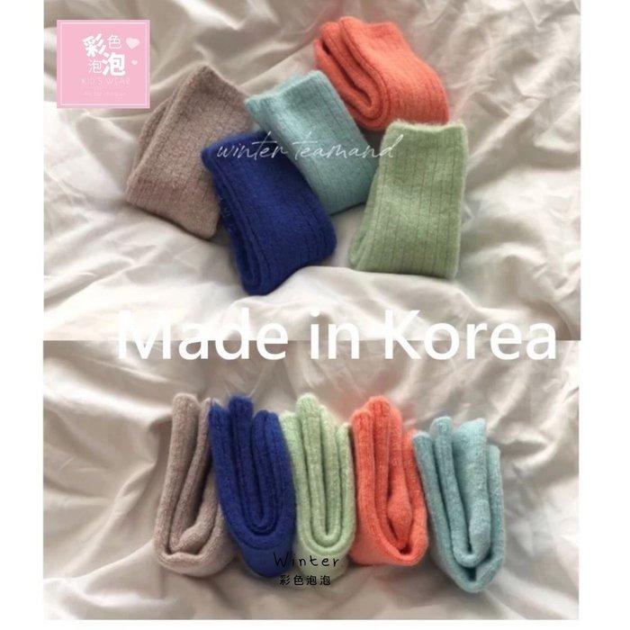 ○。° 彩色泡泡 °。○ 童裝【貨號W9385】冬。韓國製亮彩冬季款厚款短襪(5雙ㄧ組)
