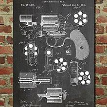 [復古藝術海報] - 1881年 左輪手槍設計圖原型|軍警 [美國PatentPrint授權](有現貨)