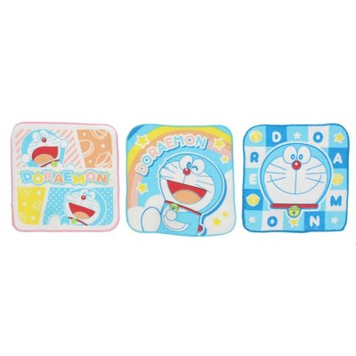 (現貨)日本 小叮噹 哆啦A夢 手帕 方巾 毛巾 幼兒園 16*16CM 開學用品 3枚入
