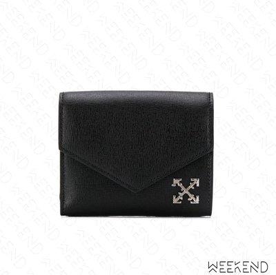 【WEEKEND】 OFF WHITE Quote Logo Cross 皮革 皮夾 卡夾 短夾 黑色 19春夏