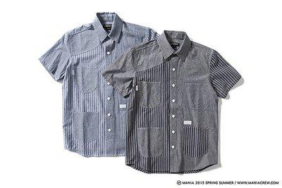 全新正品 MANIA 13S/S Tone Work Shirt 條紋 藍色 SZ:S 原價1800