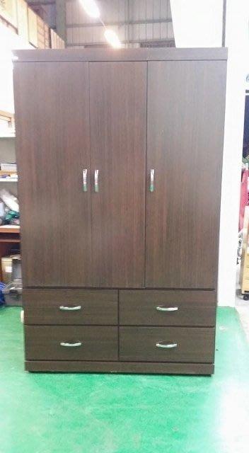 樂居二手家具 庫存出清拍賣 AG-326胡桃木衣櫃 衣櫥 衣架 斗櫃 2手家具拍賣床組床墊