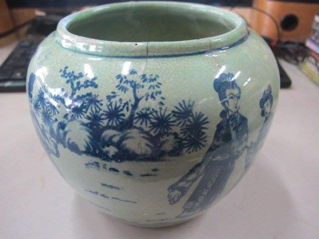 二手舖 NO.1742 陶瓷花瓶 酒甕 手繪圖樣 古早收藏