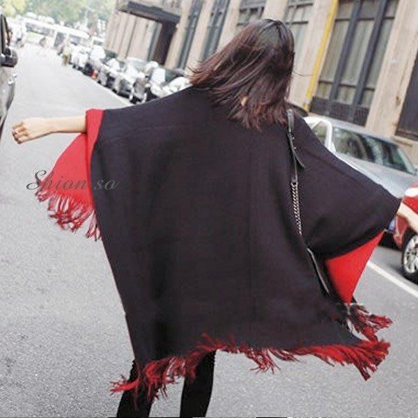 享瘦衣身中大尺碼【B4011】造型披肩斗篷外套兩用圍巾款