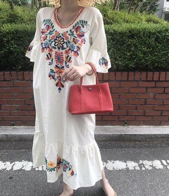 SeyeS  復古古著民族風彩色刺繡森林系洋裝