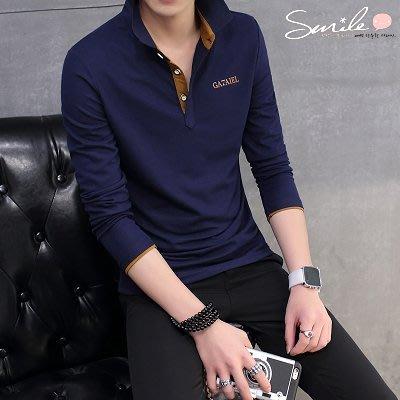【Y161】SMILE-個性穿著.韓版修身配色翻領有釦長袖POLO衫