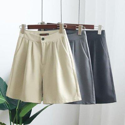 短褲 女a字顯瘦闊腿褲 高腰褲裙 寬松ins五分褲 熱褲 寬褲—莎芭