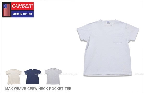 WaShiDa【700050604】9-13 CAMBER POCKET 8oz 重磅 素面 圓領 口袋 短袖 T恤
