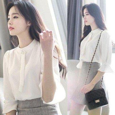 日和生活館 白襯衫韓版寬鬆短袖上衣紐扣白色雪紡襯女S686