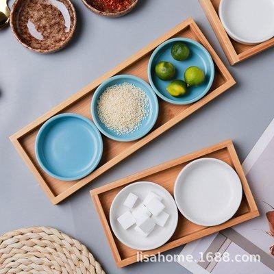 有一間店-陶瓷餐具調味碟配竹托盤 創意火鍋醬油醋蘸料碟子 家用酒店(規格不同 價格不同)