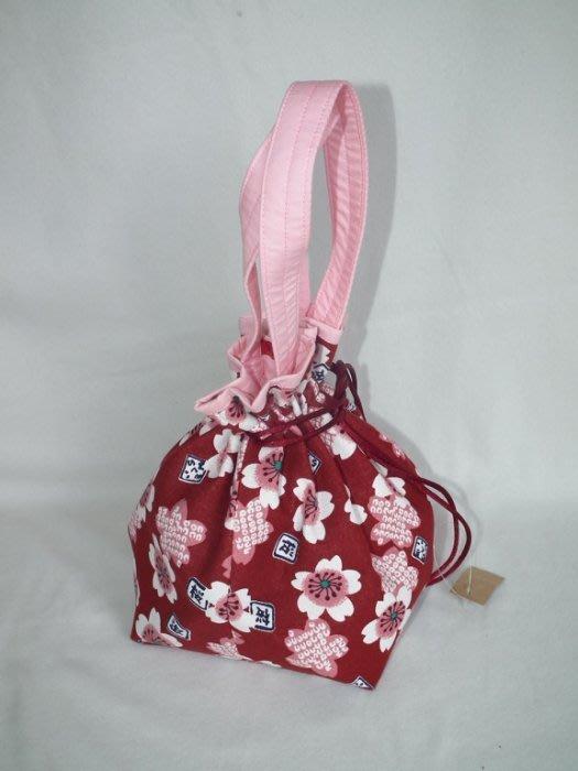 櫻花束口袋 收口袋 手提袋 手提包 拼布   佰渡工坊-臺中市愛無礙協會