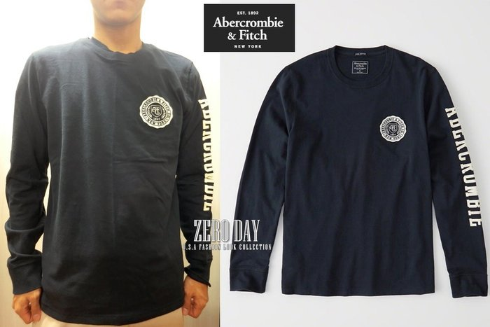 【零時差美國時尚網】A&F真品Abercrombie&Fitch LONG-SLEEVE APPLIQUE TEE長T藍