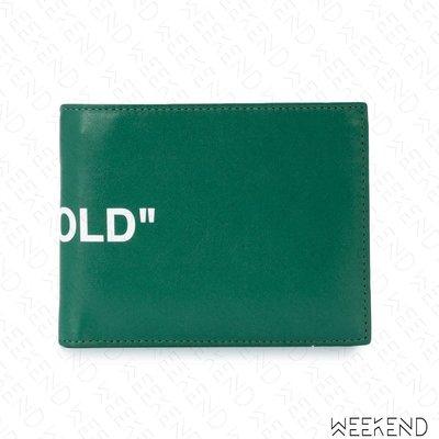 【WEEKEND】 OFF WHITE Quote Bi-fold 皮革 皮夾 短夾 綠色 19春夏