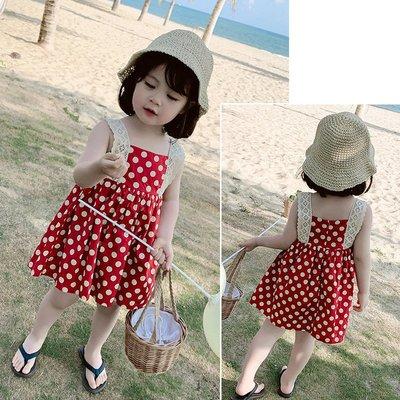 【溜。溜。選物】童裝 春夏 蕾絲吊帶 紅色波點洋裝 連衣裙
