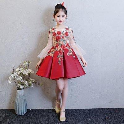 兒童走秀禮服長袖公主裙女童小主持人蓬蓬裙