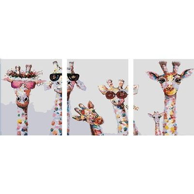 ArtLife藝術生活 DIY 彩繪 數字油畫 裝飾畫 【95284】萌萌家族40*50cm *3 副