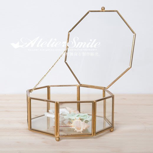 [ Atelier Smile ] 鄉村雜貨 復古歐式 手工銅製八角 玻璃展示首飾 收納盒 花盒 大款 (現+預)