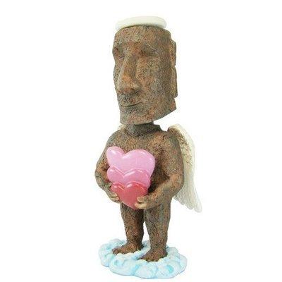 (I LOVE樂多)日本進口 MOAI復活節島摩艾 天使摩艾捧著滿滿愛心造型 搖頭公仔 送人自用兩相宜