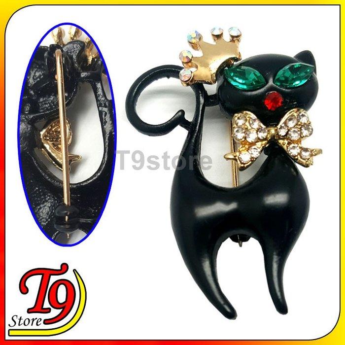 【T9store】日本進口 皇冠黑貓胸針