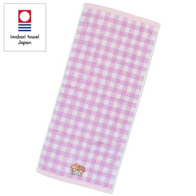 Sanrio 日本正版 Little Twin Stars 雙子星 純綿 運動長毛巾 面巾 今治毛巾 (格紋)