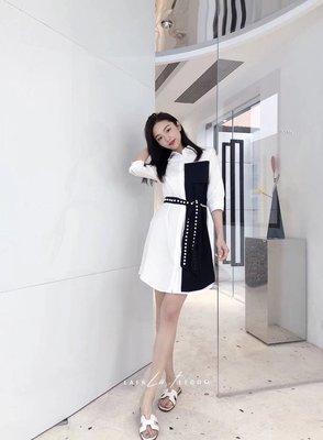 PapaDarling 20SS 歐美設計師品牌 時尚休閒珍珠腰帶拼接 襯裙 連身裙