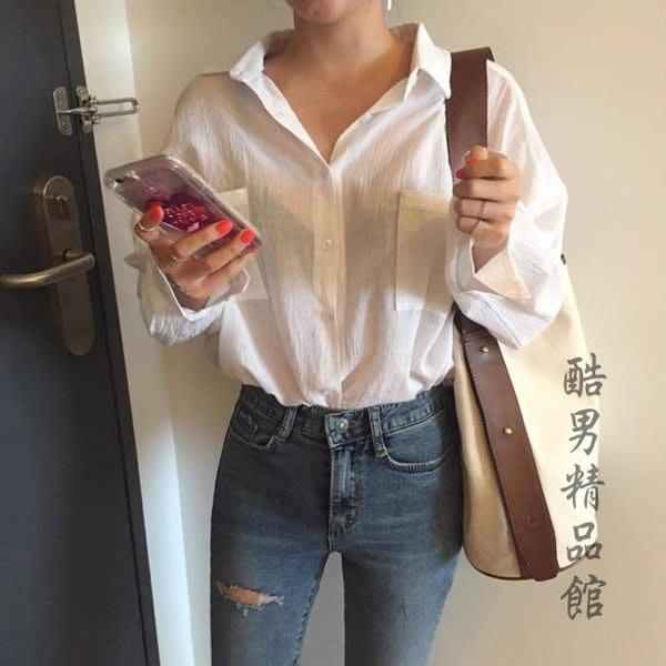 全新轉賣~防曬襯衫女韓版中長款寬鬆薄款透視棉麻上衣