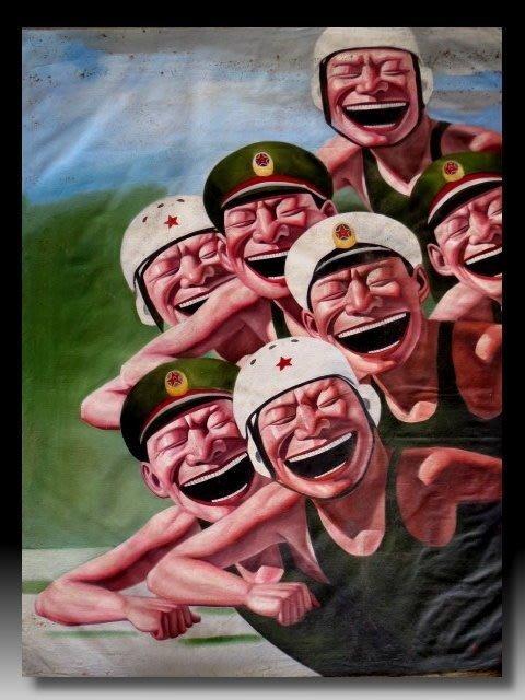 【 金王記拍寶網 】U1503 岳敏君款 手繪原作 油畫一張 (大張) 罕見 稀少 藝術無價~