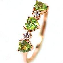 天然橄欖石戒指 925銀鍍金指環 美碼