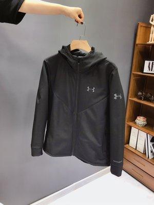 海外代購 安德瑪男士連帽加絨短款衝鋒衣夾克秋冬加厚修身外套 YZX1252