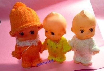 日本早期穿著橘黃白衣服的Q比娃娃 3點入 [ 新到貨 ]