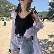 夏季韓版chic百搭顯瘦系帶V領坑條打底上衣寬松純色吊帶背心女潮