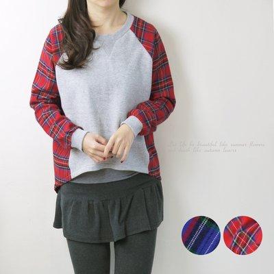 正韓 韓國連線 菱形切割素棉T拼接配色格紋上衣 ~桔子瑪琪朵