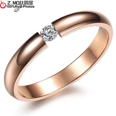 316L西德白鋼 玫瑰金色女性素面單鑽款式 可搭專屬刻字 單件價【BKS373】Z.MO鈦鋼屋