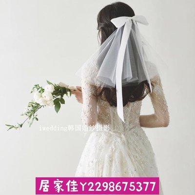 ۞限時優惠۞森系超仙絲帶蝴蝶結新娘頭紗結婚寫真攝影硬紗領證小頭紗居家一元起標