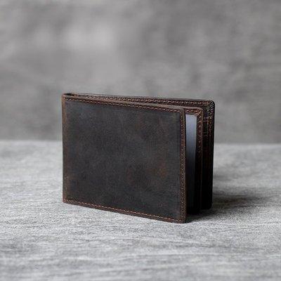 名片夾真皮信用卡夾-簡約深咖啡瘋馬牛皮男女皮夾73vp15[獨家進口][米蘭精品]