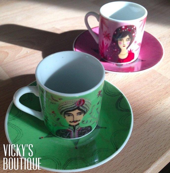 法國Fragonard法格那風格生活插畫風白瓷茶杯/咖啡杯組 現貨